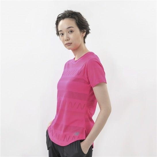 (NB公式)【ログイン購入で最大8%ポイント還元】 ウイメンズ Q Speed ジャガードショートスリーブTシャツ (ピンク) ランニング スポーツウェア / トップス シャツ ランシャツ ニューバランス newbalance